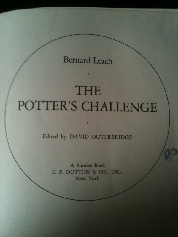 The Potter's Challenge by Bernard Leach Title Page